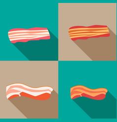 set of smoked bacon and fresh bacon vector image vector image