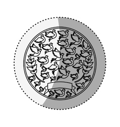 Sticker silhouete circular pattern with pigeons vector