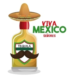 bottle tequila with hat and moustache mexico vector image vector image