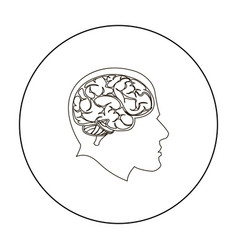 brain icon outline single education icon from the vector image