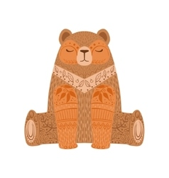 Brown bear relaxed cartoon wild animal with closed vector
