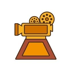cartoon film camera trophy awards gold wooden vector image
