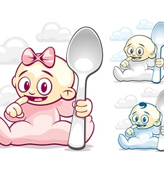 Cartoon kids with spoons vector image