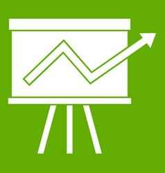 flip chart with statistics icon green vector image vector image