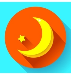 Moon and stars at night - icon Flat design vector image vector image