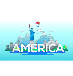 america - line travel vector image