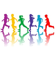 Colorful silhouettes of children running vector