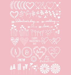 floral heart designs set vector image