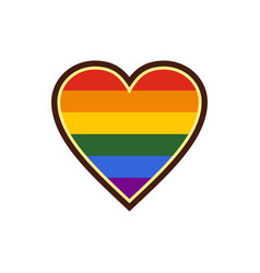 heart in lgbt color icon flat style vector image