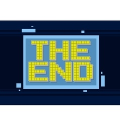 Pixel computer game yellow text the end vector image