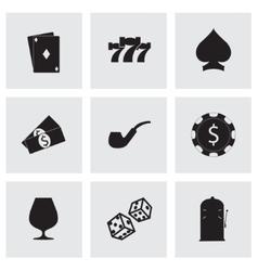 black casino icons set vector image vector image