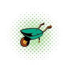Gardening wheelbarrow comics icon vector image