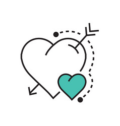 line heart and arrow blue vector image