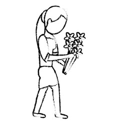 mom with flower decoration vector image