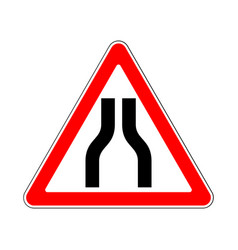 road sign warning road narrows on white background vector image