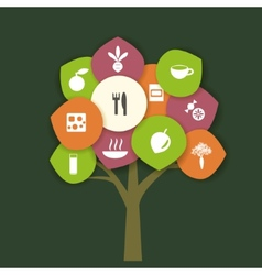 Tree with food vector