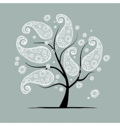 Vintage floral tree for your design vector image vector image