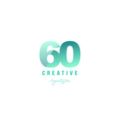 60 green pastel gradient number numeral digit vector