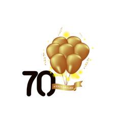 70 year anniversary black gold balloon template vector