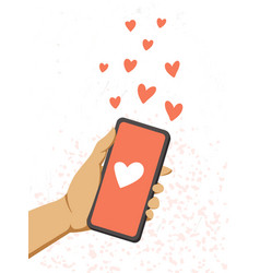 a female hand holds a phone and send red hearts vector image