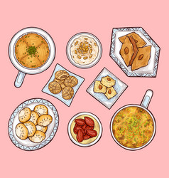 Arab sweets top view arabian ramadan cuisinefood vector