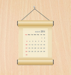 August2014 calendar on wood wall vector image