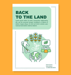 Back to land poster template layout eco farm vector
