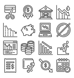 bankruptcy icons set on white background line vector image