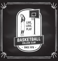 basketball club badge on chalkboard vector image