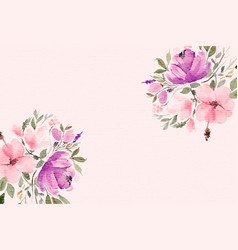 beautiful watercolor flowers background with text vector image
