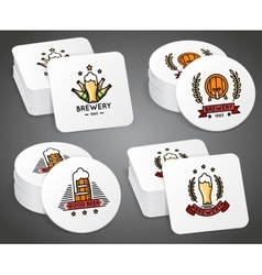 Beverage coaster with beer labels set vector
