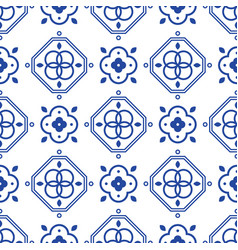 Blue and white portugeese mediterranean seamless vector