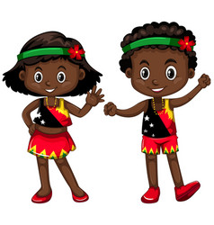 Boy and girl from papua new guinea vector