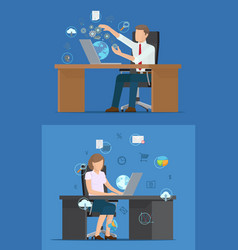 busy business people and set technology logos vector image