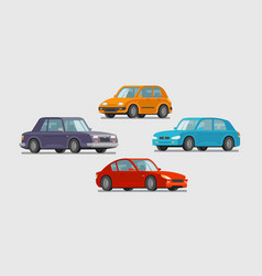 Car set of icons vehicle transport parking vector