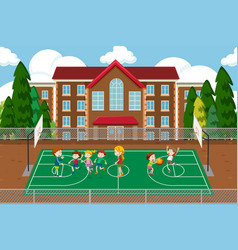 children playing basketball scene vector image