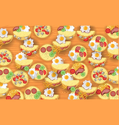 colorful omelet and ingredients background vector image