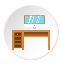 Computer desk icon circle vector