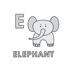 Cute cartoon animals alphabet elephant vector
