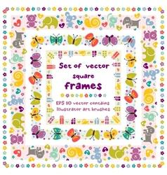cute frames with baicons vector image