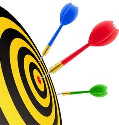darts hitting target vector image