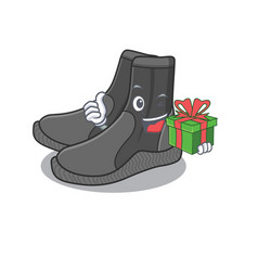 Dive booties cartoon character concept with a big vector