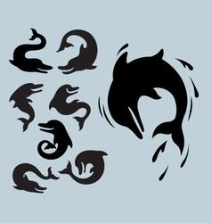 Dolphin Silhouette Symbols vector image