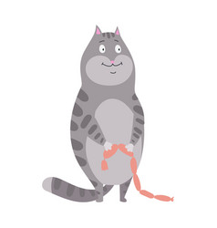 domestic cat with sausages a vector image