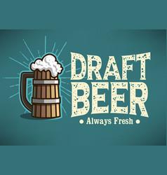 Draft beer logo label design with wooden mug vector