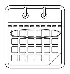 drawing calendar icon outline style vector image