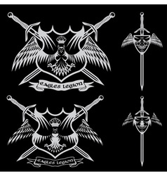Eagle with crown and swords crests collection vector
