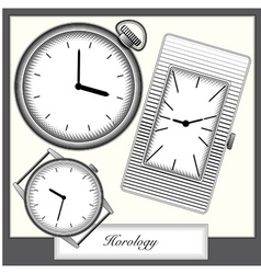 Engraving style picture watches collection vector vector