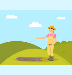 Farmer planting seeds on field vector