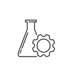 Flask with gear linear icon science vector
